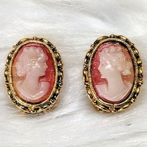 Tiny Resin Cameo Earrings